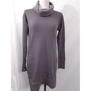 Athleta Gray Eco Wash Turtleneck Sweatshirt Dress
